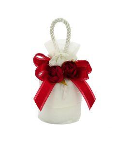 Mini borsetta con base crep bianco