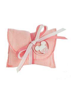 Busta lettera cotone ricamato rosa