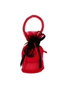 Mini borsetta con base shantung di seta rosso