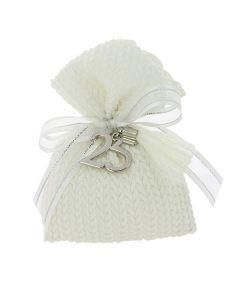 Bustina rettangolare cotone intrecciato bianco
