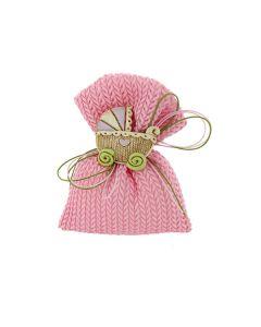 Bustina rettangolare cotone intrecciato rosa