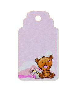 Biglietto tag rosa con orsetto