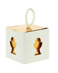 Portaconfetti scatola cubo con calice gold