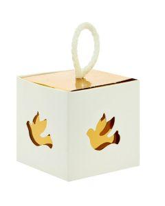 Portaconfetti scatola cubo con colomba gold