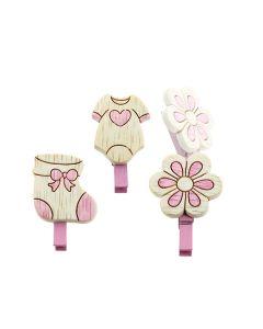 Accessori per bomboniere nascita mollette rosa