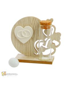 Bomboniera legno icona cuore con fedi