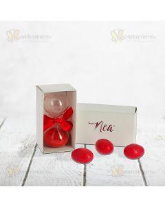 Bomboniera mini clessidra con sabbia rossa