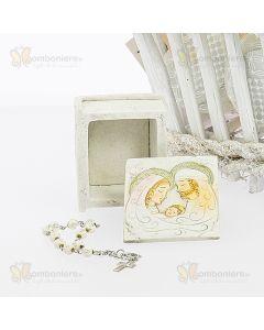 Bomboniera scatola libro sacra famiglia con rosarietto