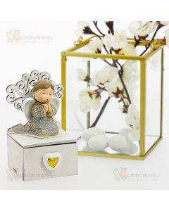 Bomboniera angelo in preghiera su scatola