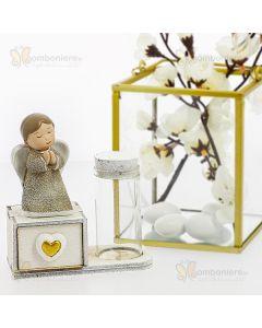 Bomboniera angelo in preghiera su scatola e fialetta