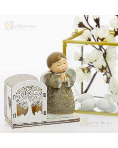Bomboniera angelo in preghiera con porta sacchetto
