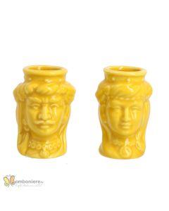 Bomboniera vasetti teste di moro gialle