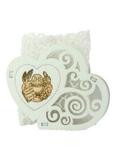 Bomboniera portaconfetti doppio cuore comunione con bustina