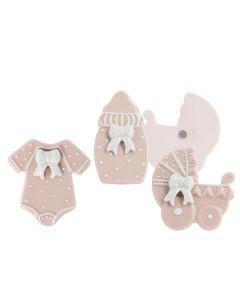 Bomboniera magnete nascita rosa con fiocco