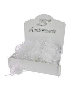 Kit bomboniere 25 anni con velo bordato argento completo di confetti