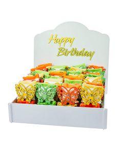 KIT  HAPPY BIRTHDAY  + 48 PZ FARFALLA STRASS 3 COLORI ASS.