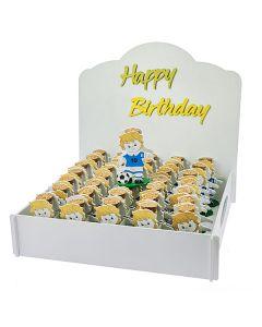 KIT  HAPPY BIRTHDAY  + 48 PZ BOX CALCIATORE CON FIALA 6,5X9