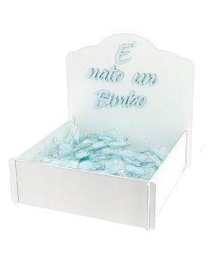 Cesto nascita bimbo con confetti imbustati