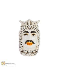 Bomboniera Nicarè testa di moro uomo arabo bianca decorata