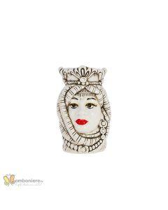 Bomboniera Nicarè testa di moro donna araba bianca decorata