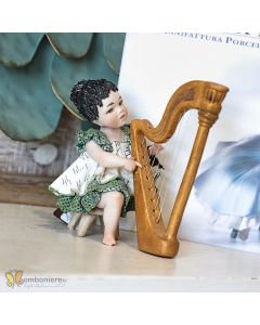HENRIETTE MUSICISTA CON ARPA PORCELLANA BISQUIT H. 10 CM